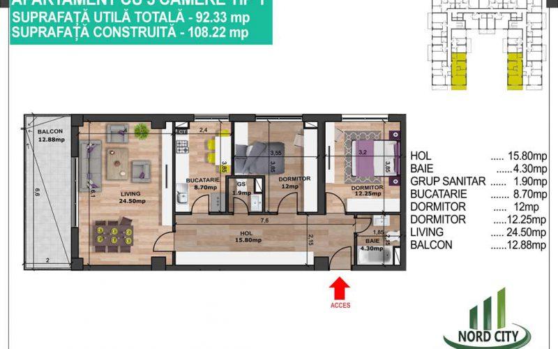 Apartament cu 3 camere tip 1 - Nord City