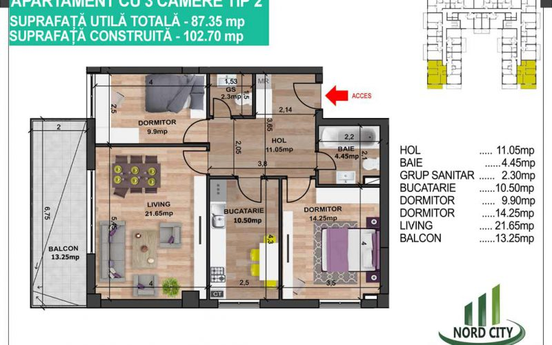 Apartament cu 3 camere tip 2 - Nord City