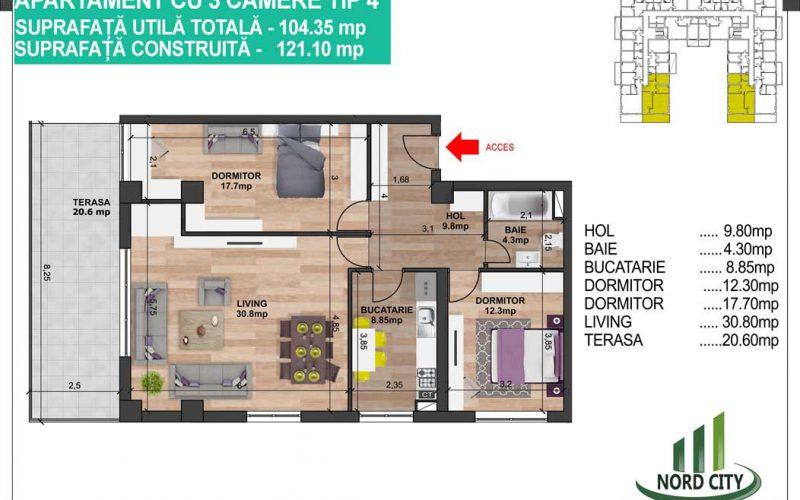 Apartament cu 3 camere tip 4 - Nord City