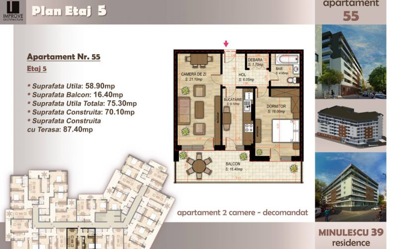Apartament cu 2 camere Minulescu 39 Residence028