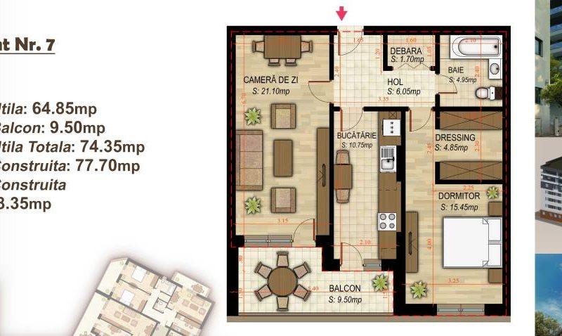 Apartament cu 2 camere Minulescu 39 Residence034