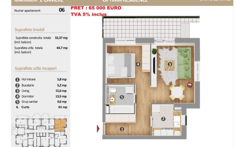Apartament cu 2 camere Optima Residence