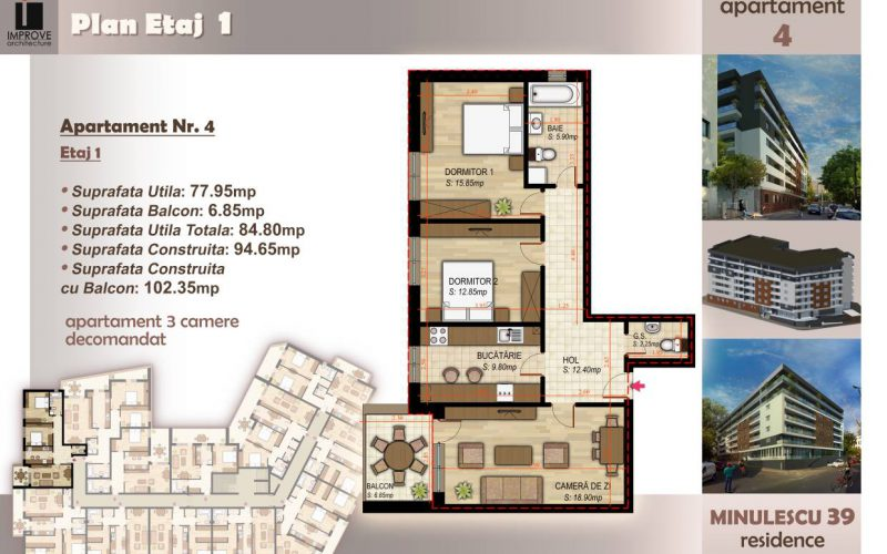 Apartament cu 3 camere Minulescu 39 Residence005