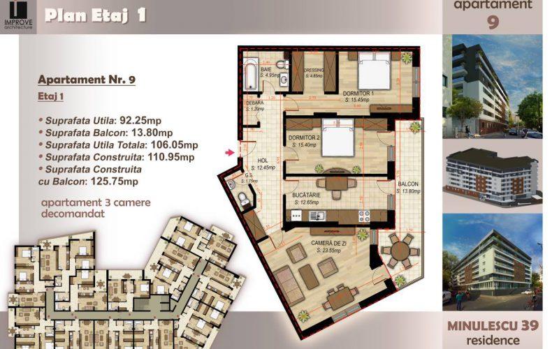 Apartament cu 3 camere Minulescu 39 Residence