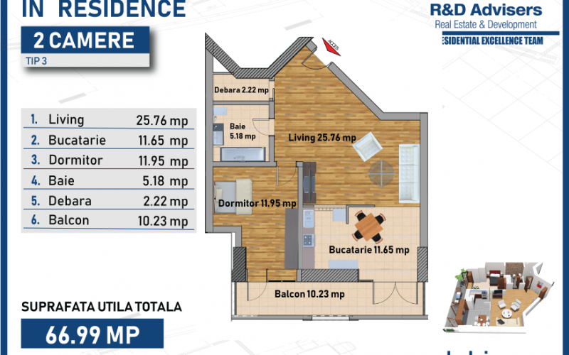Apartament cu 2 camere tip 3 In Residence