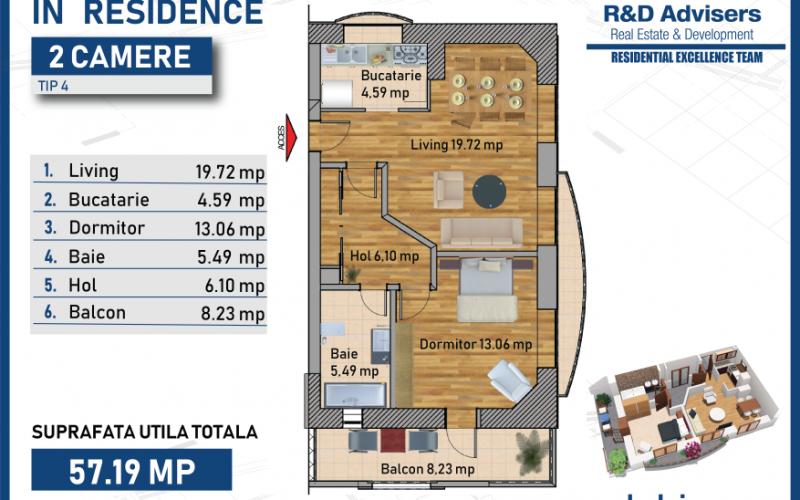 Apartament cu 2 camere tip 1 In Residence