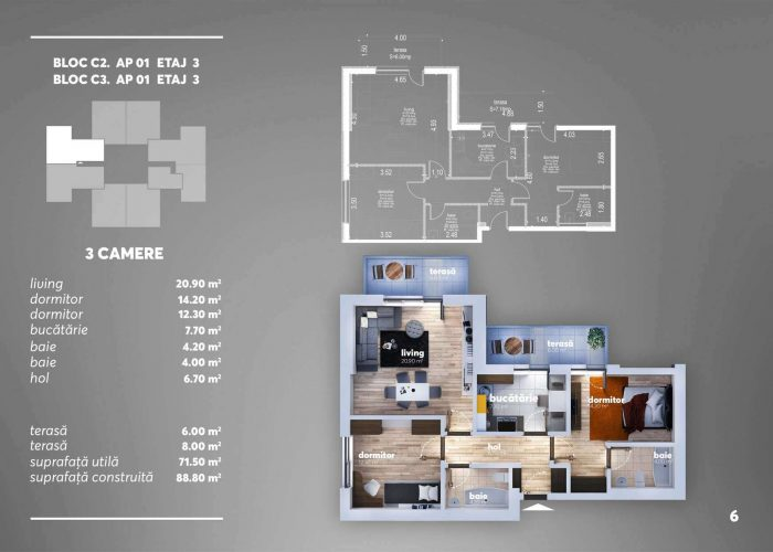 Arena Tower Residence - Plan 2d Apartament 3 Camere 3