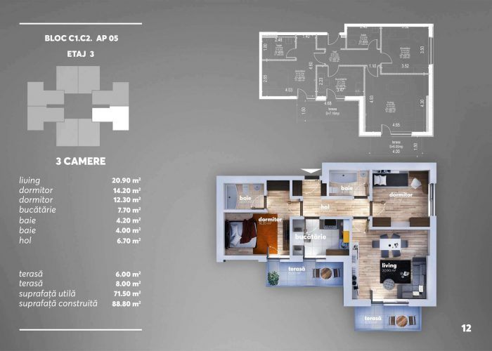 Arena Tower Residence - Plan 2d Apartament 3 Camere 1