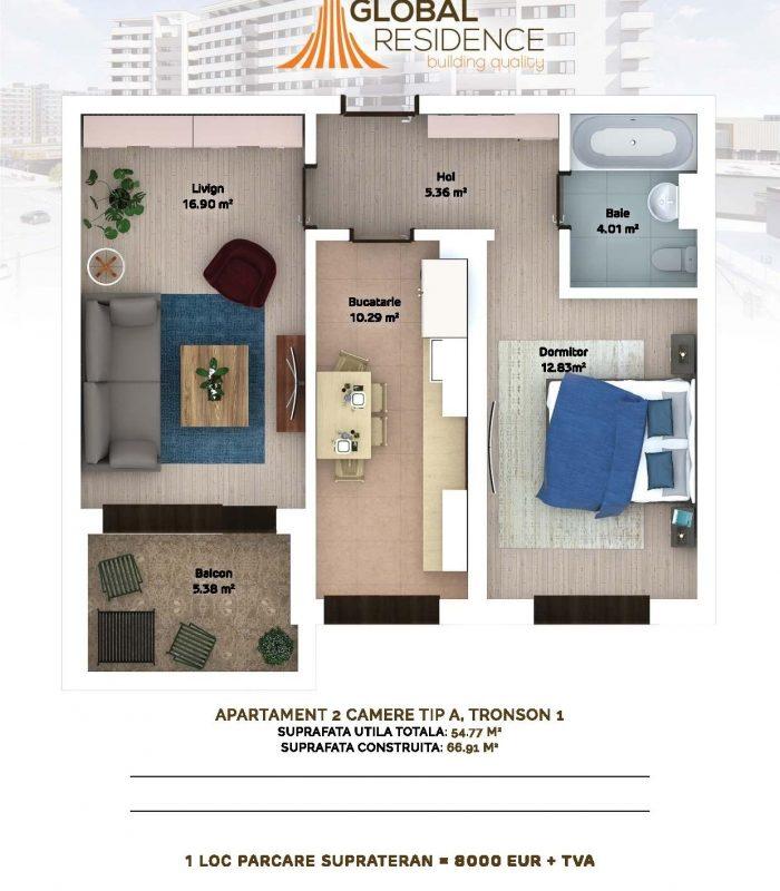 2 camere- colt curte interioara 69.500 euro