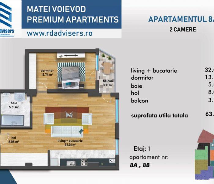 Matei Voievod Premium Apartments - apartament 2 camere plan 2d