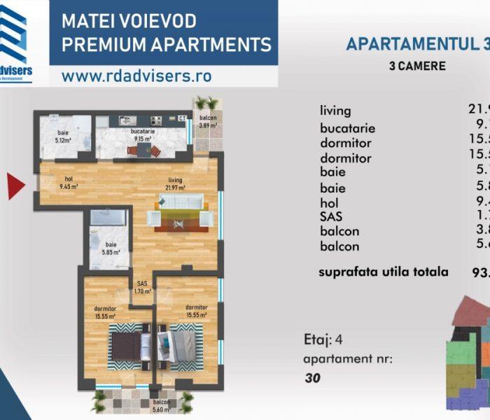 Matei Voievod Premium Apartments - apartament 3 camere Plan 2d