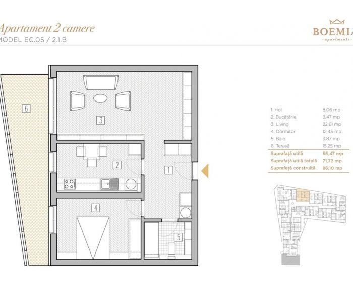 Boemia Apartments - Apartament 2 Camere 015