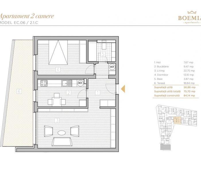 Boemia Apartments - Apartament 2 Camere 016