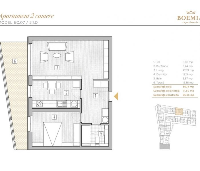 Boemia Apartments - Apartament 2 Camere 017