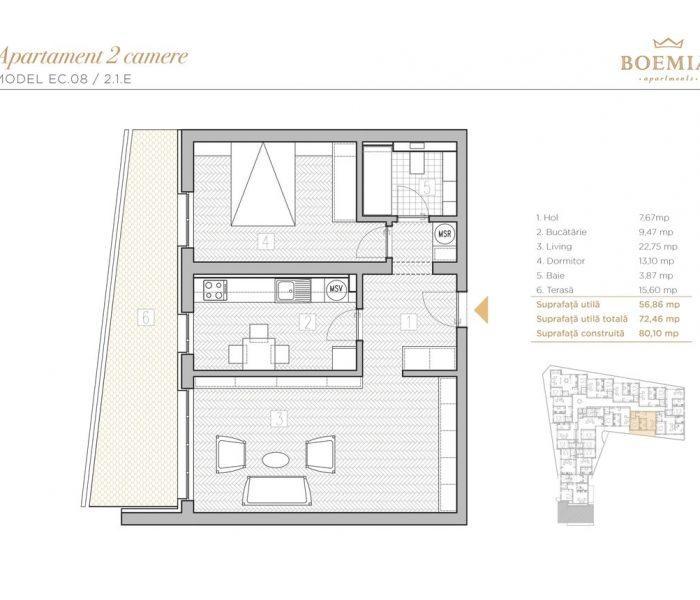 Boemia Apartments - Apartament 2 Camere 018