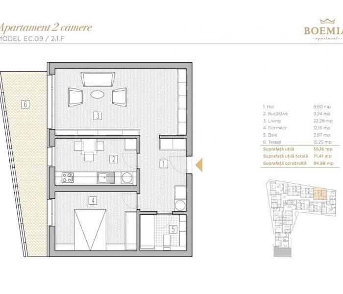 Boemia Apartments - Apartament 2 Camere 019