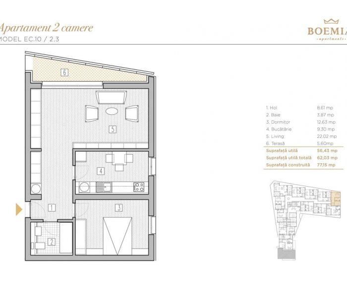 Boemia Apartments - Apartament 2 Camere 020