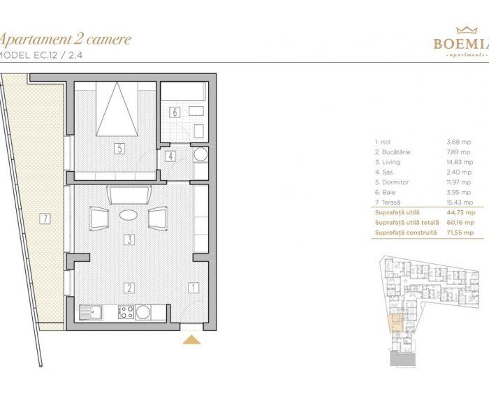 Boemia Apartments - Apartament 2 Camere 021