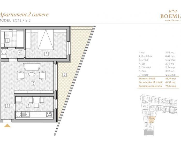 Boemia Apartments - Apartament 2 Camere 022