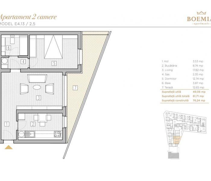 Boemia Apartments - Apartament 2 Camere 023