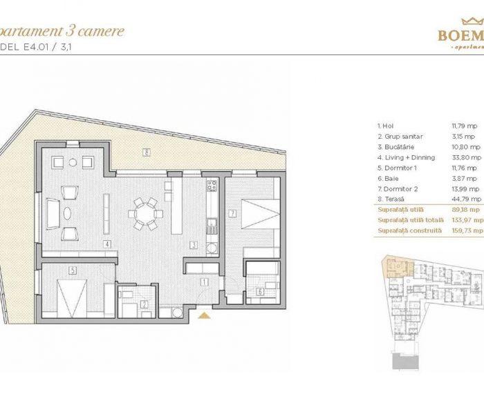 Boemia Apartments - Apartament 3 Camere 001