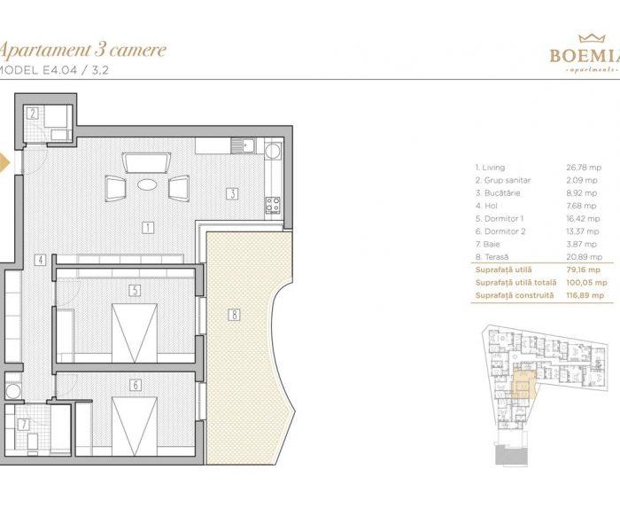 Boemia Apartments - Apartament 3 Camere 002