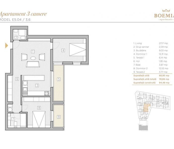 Boemia Apartments - Apartament 3 Camere 003
