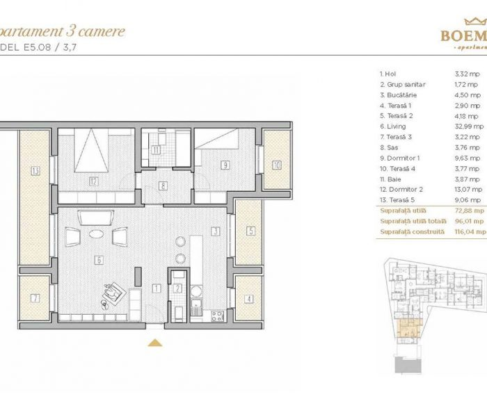 Boemia Apartments - Apartament 3 Camere 004
