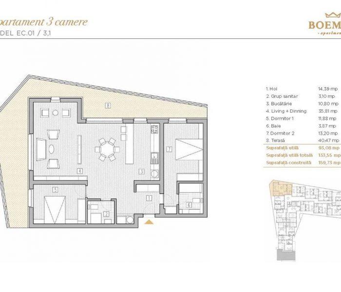 Boemia Apartments - Apartament 3 Camere 005