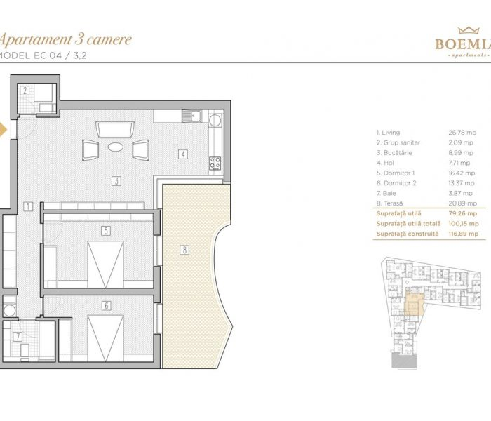 Boemia Apartments - Apartament 3 Camere 006