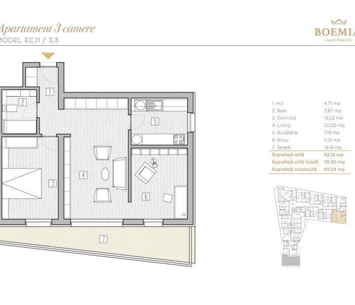 Boemia Apartments - Apartament 3 Camere 007