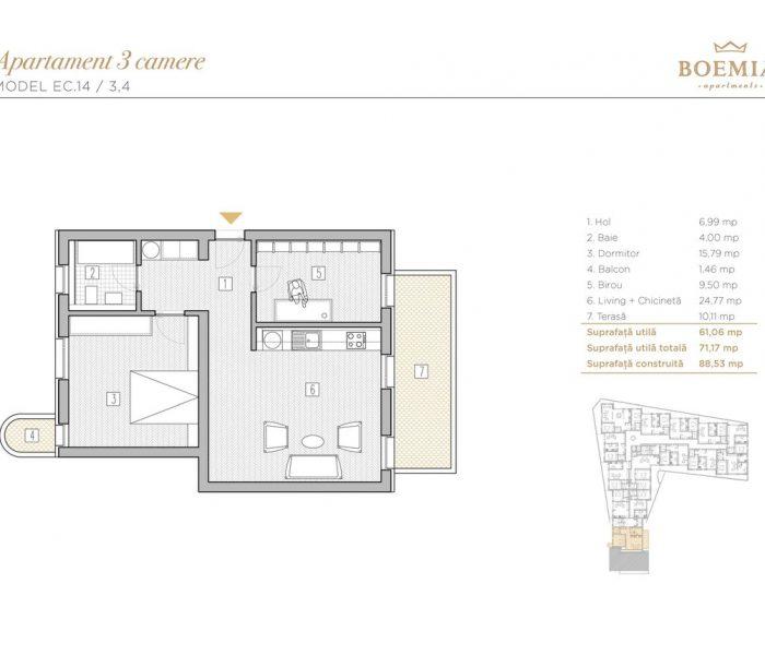 Boemia Apartments - Apartament 3 Camere 008