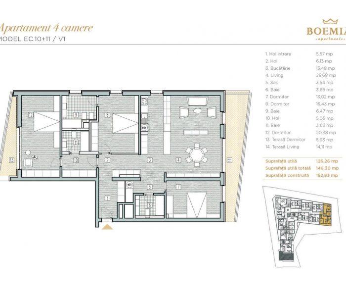 Boemia Apartments - Apartament 4 Camere 001