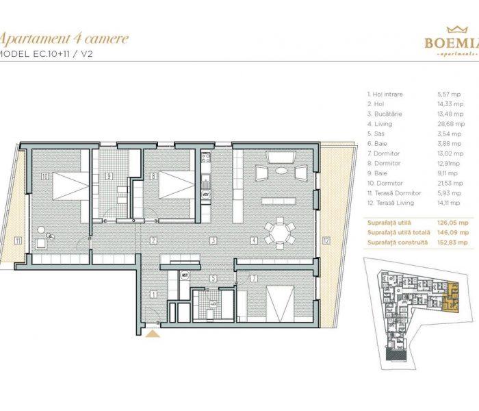 Boemia Apartments - Apartament 4 Camere 002