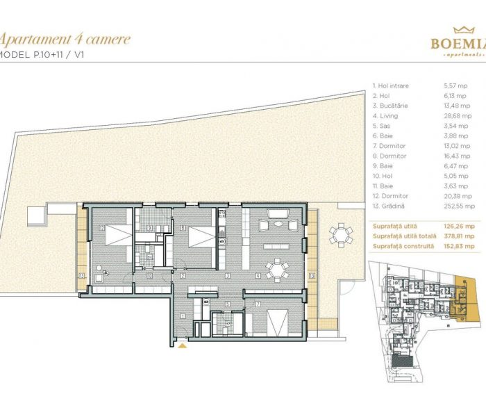 Boemia Apartments - Apartament 4 Camere 003