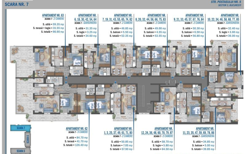 plan etaj 6 scara 7